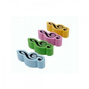 Radiergummi Violinschlüssel farbig 4 Stück